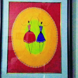 dancing girls, 17 x 21 inch, geeta kwatra,paintings,abstract paintings,paintings for living room,canvas,acrylic color,17x21inch,GAL0899121030