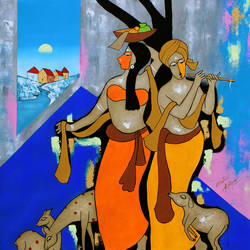 going to home, 38 x 43 inch, chetan katigar,figurative paintings,modern art paintings,art deco paintings,expressionist paintings,impressionist paintings,street art,radha krishna paintings,paintings for living room,paintings for bedroom,paintings for office,paintings for hospital,paintings for dining room,canvas,acrylic color,38x43inch,GAL026621038,love,lordradha,lordkrishna,flute,music