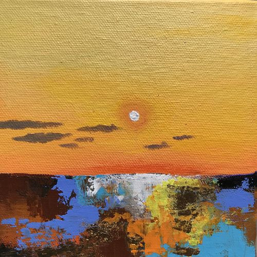 gold ! abstract sunset landscape !!, 6 x 6 inch, amita dand,paintings,abstract paintings,landscape paintings,nature paintings,paintings for dining room,paintings for living room,paintings for bedroom,paintings for office,paintings for bathroom,paintings for hotel,paintings for school,paintings for hospital,canvas board,acrylic color,6x6inch,GAL0146721039Nature,environment,Beauty,scenery,greenery