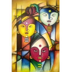 trimurti, 24 x 36 inch, atul patel,paintings,miniature painting.,paintings for living room,paintings for living room,canvas,oil,24x36inch,GAL01091421067
