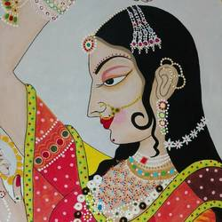 rajput beauty, 24 x 36 inch, j.k  chhatwal,figurative paintings,modern art paintings,paintings for dining room,paintings for living room,paintings for bedroom,paintings for office,paintings for school,paintings for hospital,canvas,acrylic color,24x36inch,GAL0537821068