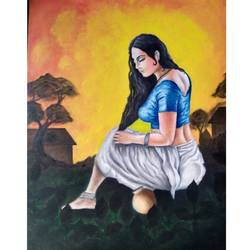 gopi, 18 x 26 inch, atul patel,paintings,realistic paintings,canvas board,acrylic color,oil,18x26inch,GAL01091421071
