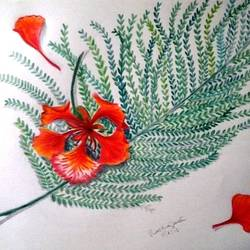 gulmohar, 12 x 17 inch, prabha  panth,drawings,realism drawings,paintings for living room,drawing paper,pencil color,12x17inch,GAL0390721076