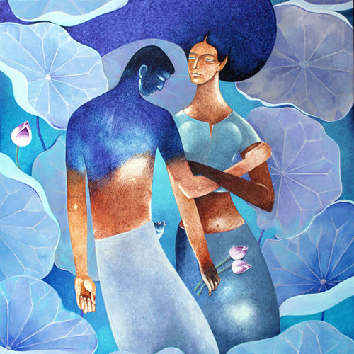 lovers, 36 x 44 inch, raji p,paintings,figurative paintings,conceptual paintings,contemporary paintings,love paintings,paintings for dining room,paintings for living room,paintings for bedroom,paintings for office,paintings for hotel,paintings for hospital,canvas,acrylic color,36x44inch,GAL059021079heart,family,caring,happiness,forever,happy,trust,passion,romance,sweet,kiss,love,hugs,warm,fun,kisses,joy,friendship,marriage,chocolate,husband,wife,forever,caring,couple,sweetheart