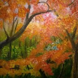 autumn colours, 8 x 12 inch, prabha  panth,paintings,nature paintings,paintings for living room,paintings for living room,thick paper,oil,8x12inch,GAL0390721081Nature,environment,Beauty,scenery,greenery