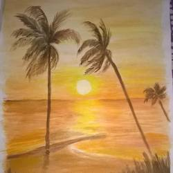 sun rise, 12 x 17 inch, prabha  panth,paintings,nature paintings,paintings for living room,paintings for living room,drawing paper,watercolor,12x17inch,GAL0390721084Nature,environment,Beauty,scenery,greenery