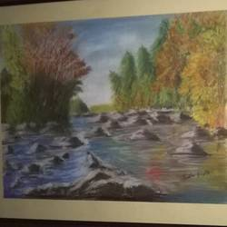 flowing river, 12 x 17 inch, prabha  panth,paintings,landscape paintings,paintings for living room,renaissance watercolor paper,pastel color,12x17inch,GAL0390721086