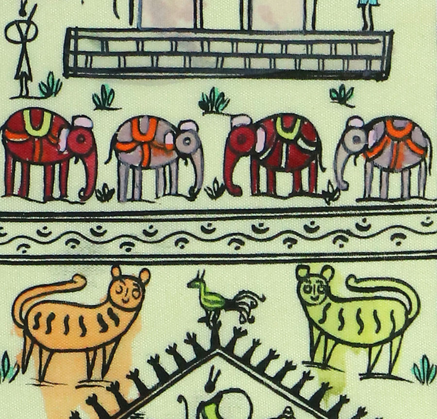 tribal art on silk  -animals , 13 x 7 inch, adi creative solution,paintings,abstract paintings,wildlife paintings,folk art paintings,paintings for dining room,paintings for living room,paintings for bedroom,paintings for office,paintings for bathroom,paintings for kids room,paintings for hotel,paintings for kitchen,paintings for school,paintings for hospital,warli paintings,silk,fabric,natural color,13x7inch,GAL01096421091