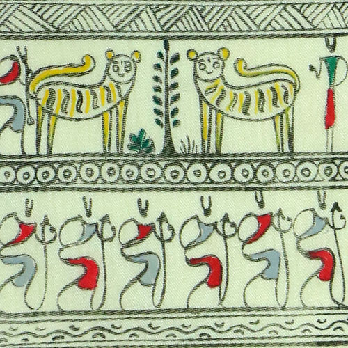 tribal art on silk  - post harvest festival , 13 x 7 inch, adi creative solution,paintings,wildlife paintings,folk art paintings,paintings for dining room,paintings for living room,paintings for bedroom,paintings for office,paintings for bathroom,paintings for kids room,paintings for hotel,paintings for kitchen,paintings for school,paintings for hospital,warli paintings,silk,fabric,natural color,13x7inch,GAL01096421093