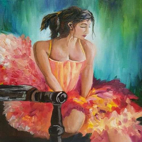 ballerina, 16 x 20 inch, amaey parekh,figurative paintings,paintings for bedroom,canvas,oil paint,16x20inch,GAL075211