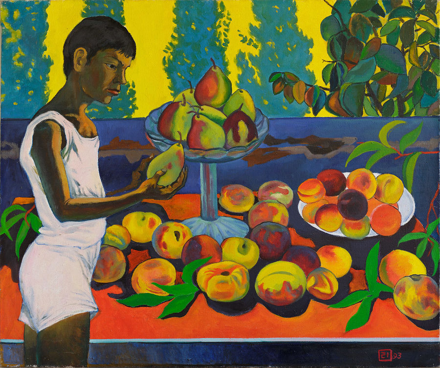 a boy with a pear, 33 x 39 inch, moesey li,realism paintings,paintings for dining room,paintings,canvas,oil paint,33x39inch,GAL07182112