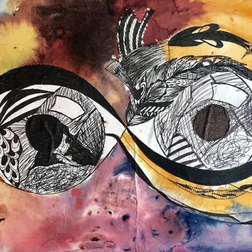 infinite eye, 15 x 11 inch, zoya safri,drawings,abstract drawings,graffiti drawings,paper,ink color,pen color,ball point pen,15x11inch,GAL01095521125