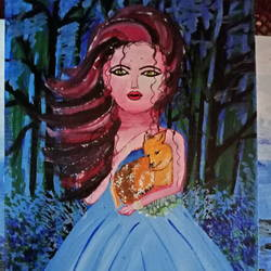 beautiful girl holding kangaro, 14 x 20 inch, snehalata ghosh,paintings,abstract paintings,paintings for living room,canvas,acrylic color,14x20inch,GAL01103921137