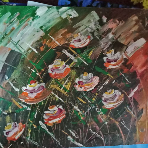rose flowers, 14 x 20 inch, snehalata ghosh,paintings,abstract paintings,paintings for bedroom,canvas,acrylic color,14x20inch,GAL01103921138