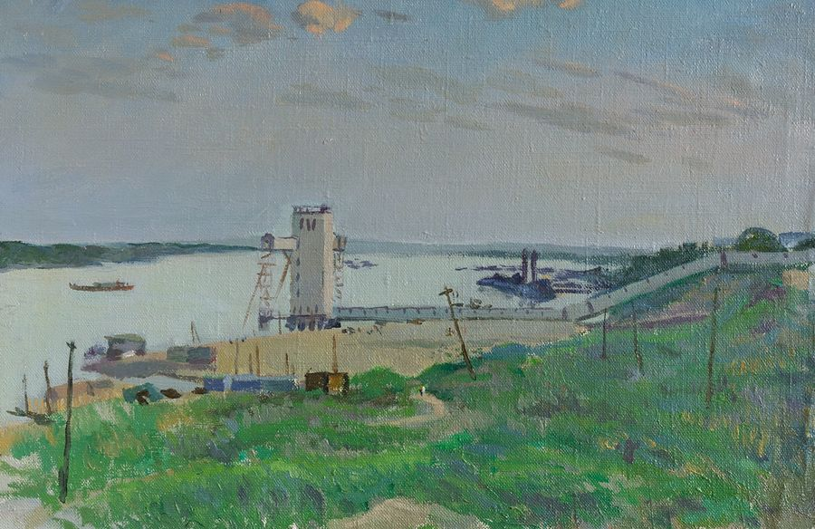 a grain elevator near volga, 22 x 14 inch, moesey li,landscape paintings,paintings for living room,paintings,canvas,oil paint,22x14inch,GAL07182115
