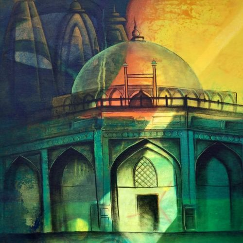 temple fusion, 24 x 36 inch, chetna bernela,religious paintings,canvas,acrylic color,24x36inch,GAL0784521159