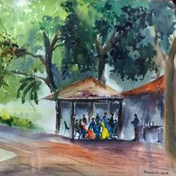 jab we met, 25 x 17 inch, dipankar  biswas,paintings,cityscape paintings,landscape paintings,nature paintings,paintings for dining room,paintings for living room,paintings for bedroom,paintings for office,paintings for hotel,paintings for school,paintings for hospital,handmade paper,watercolor,25x17inch,GAL0293221165Nature,environment,Beauty,scenery,greenery