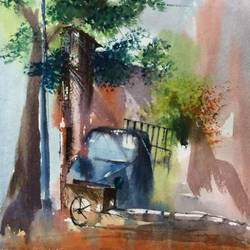 abandoned.., 14 x 22 inch, dipankar  biswas,paintings,cityscape paintings,landscape paintings,nature paintings,paintings for dining room,paintings for living room,paintings for bedroom,paintings for office,paintings for bathroom,paintings for hotel,paintings for school,paintings for hospital,handmade paper,watercolor,14x22inch,GAL0293221167Nature,environment,Beauty,scenery,greenery