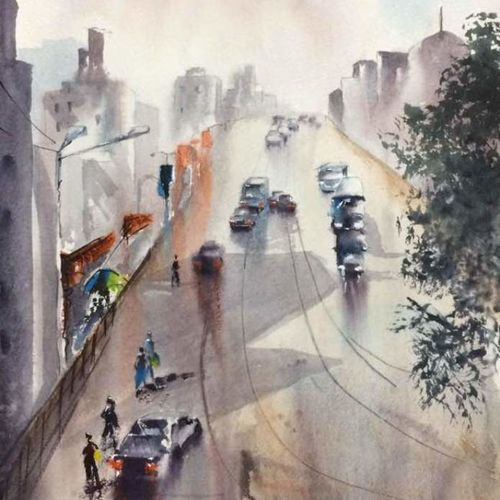 in the middle of road in kolkata, 14 x 22 inch, dipankar  biswas,paintings,cityscape paintings,landscape paintings,nature paintings,paintings for dining room,paintings for living room,paintings for bedroom,paintings for office,paintings for hotel,paintings for school,paintings for hospital,handmade paper,watercolor,14x22inch,GAL0293221168Nature,environment,Beauty,scenery,greenery