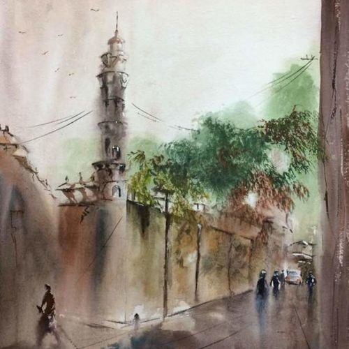 morning mood near pareshnath temple in kolkata, 26 x 18 inch, dipankar  biswas,paintings,cityscape paintings,landscape paintings,nature paintings,paintings for dining room,paintings for living room,paintings for bedroom,paintings for office,paintings for kids room,paintings for hotel,paintings for school,paintings for hospital,handmade paper,watercolor,26x18inch,GAL0293221170Nature,environment,Beauty,scenery,greenery