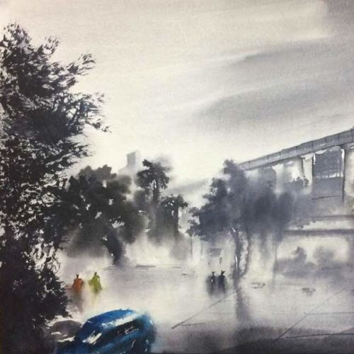 walking by dn tagore steet..kolkata, 22 x 15 inch, dipankar  biswas,paintings,cityscape paintings,landscape paintings,nature paintings,paintings for dining room,paintings for living room,paintings for bedroom,paintings for office,paintings for hotel,paintings for school,paintings for hospital,handmade paper,watercolor,22x15inch,GAL0293221173Nature,environment,Beauty,scenery,greenery
