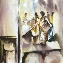 in the morning with my pal, 15 x 22 inch, dipankar  biswas,paintings,cityscape paintings,landscape paintings,nature paintings,paintings for dining room,paintings for living room,paintings for bedroom,paintings for office,paintings for hotel,paintings for kitchen,paintings for dining room,paintings for living room,paintings for bedroom,paintings for office,paintings for hotel,paintings for kitchen,handmade paper,watercolor,15x22inch,GAL0293221174Nature,environment,Beauty,scenery,greenery