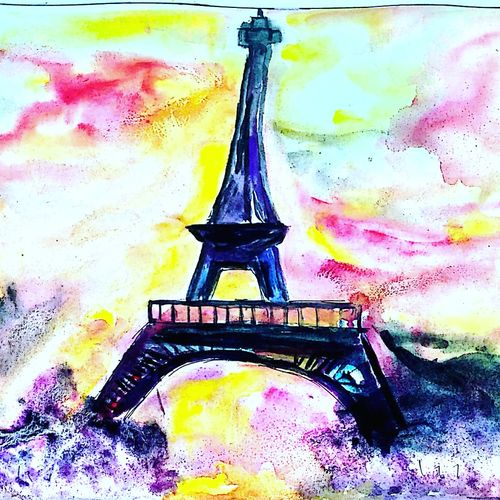 peace paris, 9 x 7 inch, manisha ray khan,paintings,abstract expressionist paintings,paintings for living room,paintings for office,paintings for school,drawing paper,watercolor,9x7inch,GAL0857121187