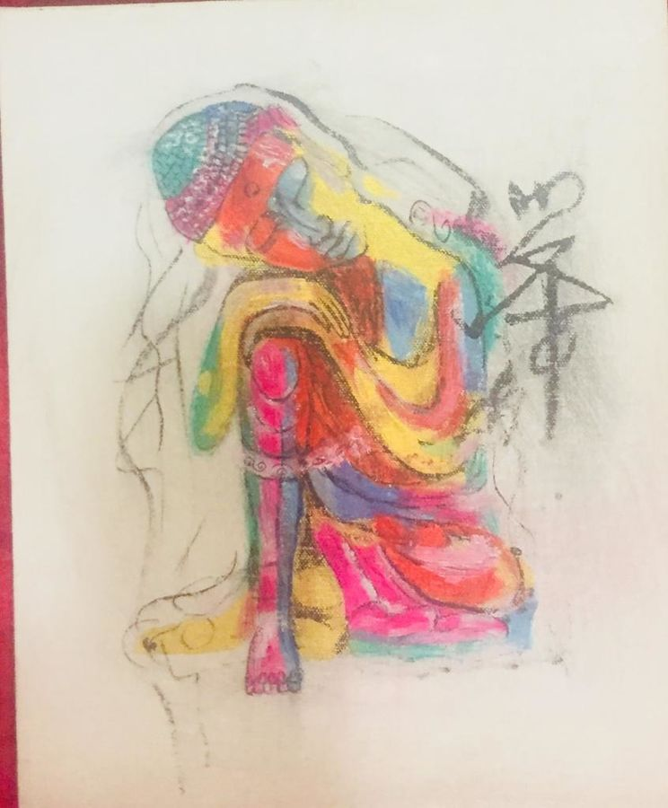 vibrancy of life while meditating , 10 x 12 inch, dhanashree bhapkar,drawings,abstract drawings,art deco drawings,dada drawings,expressionist drawings,fine art drawings,folk drawings,graffiti drawings,illustration drawings,pop art drawings,portrait drawings,street art,buddha drawings,paintings for dining room,paintings for living room,paintings for bedroom,paintings for office,paintings for kids room,paintings for hotel,paintings for kitchen,paintings for school,paintings for hospital,paper,pastel color,poster color,10x12inch,GAL01081321197