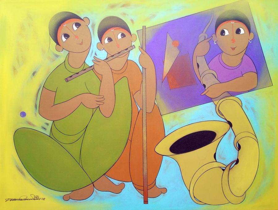 childhood fun music, 48 x 36 inch, dnyaneshwar  bembade ,paintings,figurative paintings,paintings for office,paintings for kids room,paintings for hotel,canvas,acrylic color,48x36inch,GAL046421210