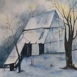 moonlight house, 16 x 13 inch, bablu pramanik,paintings,nature paintings,handmade paper,watercolor,16x13inch,GAL0773821211Nature,environment,Beauty,scenery,greenery