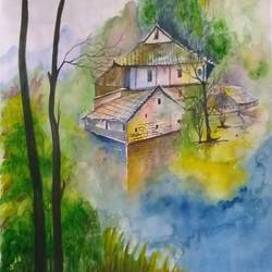 nature , 16 x 13 inch, bablu pramanik,paintings,nature paintings,cartridge paper,acrylic color,16x13inch,GAL0773821216Nature,environment,Beauty,scenery,greenery