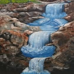 waterfalls , 12 x 16 inch, bablu pramanik,paintings,oil sheet,acrylic color,12x16inch,GAL0773821230