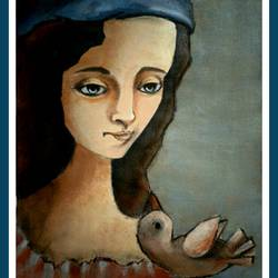 the bird-eye, 12 x 20 inch, suparna  roy,paintings,conceptual paintings,handmade paper,acrylic color,12x20inch,GAL01079621235