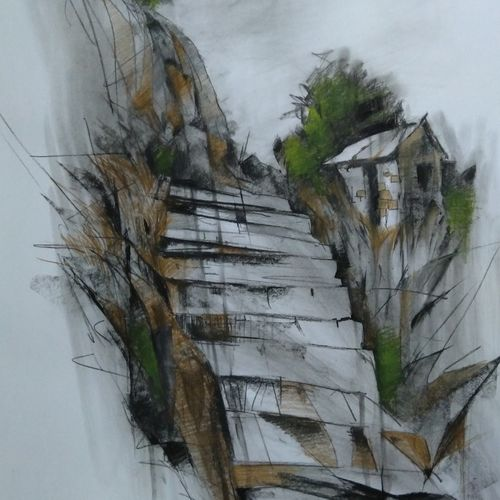 the rocky stairs, 23 x 29 inch, arnab bhattacharjee,paintings,nature paintings,paper,pastel color,pencil color,23x29inch,GAL0890221242Nature,environment,Beauty,scenery,greenery