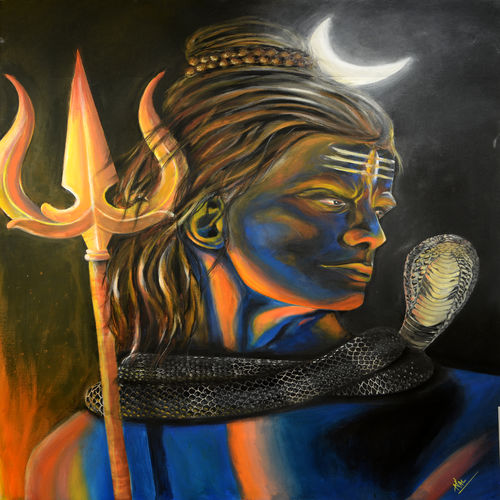 lord shiva, 36 x 48 inch, jumpstart creative studio,paintings,figurative paintings,conceptual paintings,religious paintings,illustration paintings,surrealist paintings,contemporary paintings,lord shiva paintings,paintings for living room,paintings for office,paintings for hotel,canvas,acrylic color,36x48inch,GAL0756821249