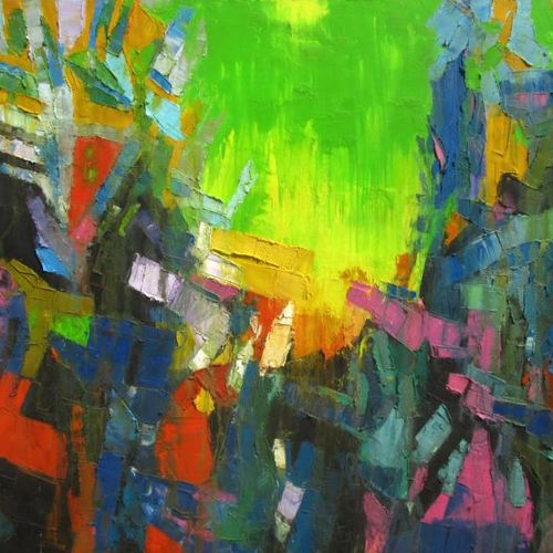 green sky, 60 x 48 inch, abhishek kumar,abstract paintings,paintings for living room,canvas,oil,60x48inch,GAL07872125