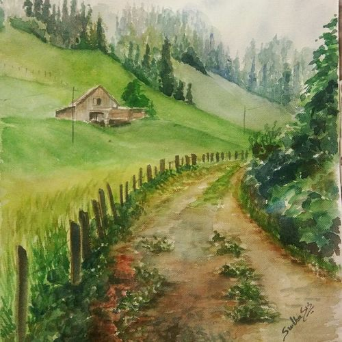 destination, 11 x 15 inch, sudha baregar,paintings,landscape paintings,nature paintings,paintings for living room,paintings for hotel,handmade paper,watercolor,11x15inch,GAL01111121250Nature,environment,Beauty,scenery,greenery