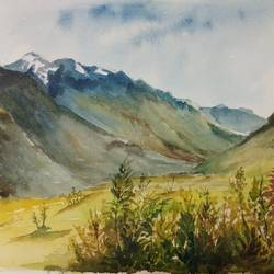 mountains, 15 x 11 inch, sudha baregar,paintings,landscape paintings,nature paintings,paintings for living room,paintings for office,paintings for hotel,handmade paper,watercolor,15x11inch,GAL01111121252Nature,environment,Beauty,scenery,greenery