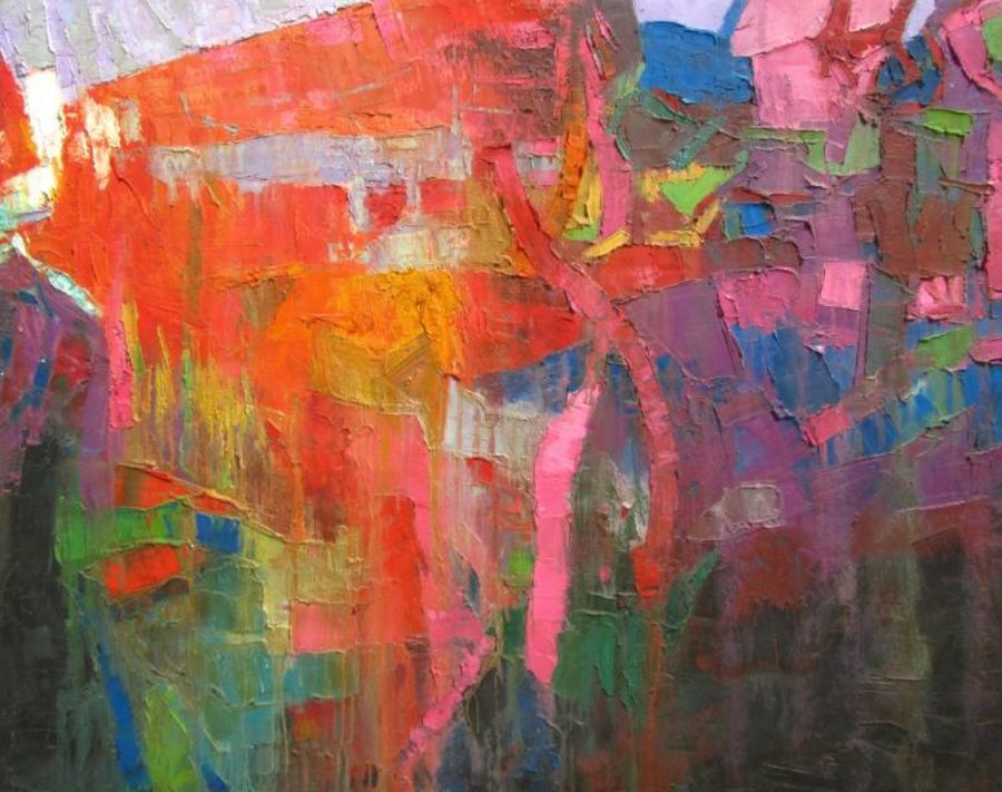 read the city-iii, 60 x 48 inch, abhishek kumar,abstract paintings,paintings for living room,canvas,oil paint,60x48inch,GAL07872126
