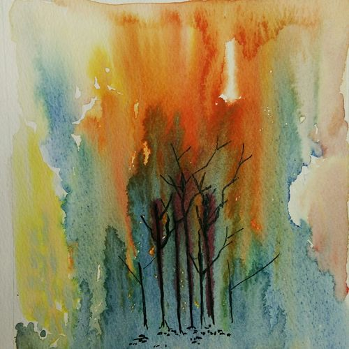 burn the past, 9 x 10 inch, sudha baregar,paintings,abstract paintings,modern art paintings,illustration paintings,paintings for living room,paintings for office,paintings for hotel,renaissance watercolor paper,watercolor,9x10inch,GAL01111121266