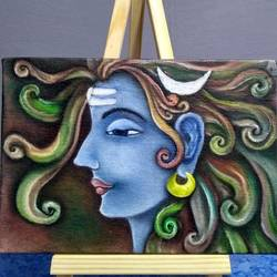 shiv, 5 x 7 inch, atul patel,paintings,realistic paintings,lord shiva paintings,canvas board,oil,5x7inch,GAL01091421287