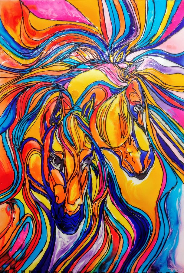 glass painting of horses, 8 x 12 inch, asmita chatterjee,paintings,abstract paintings,wildlife paintings,modern art paintings,animal paintings,horse paintings,paintings for dining room,paintings for living room,paintings for bedroom,paintings for office,paintings for kids room,paintings for hotel,paintings for kitchen,paintings for school,paintings for hospital,ohp plastic sheets,glass,8x12inch,GAL01118321292