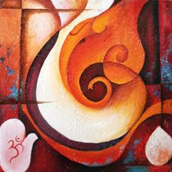 ganpati- abstract, 24 x 24 inch, amaey parekh,abstract paintings,paintings for living room,religious paintings,ganesha paintings,canvas,oil paint,24x24inch,GAL075213,vinayak,ekadanta,ganpati,lambodar,peace,devotion,religious,lord ganesha,lordganpati