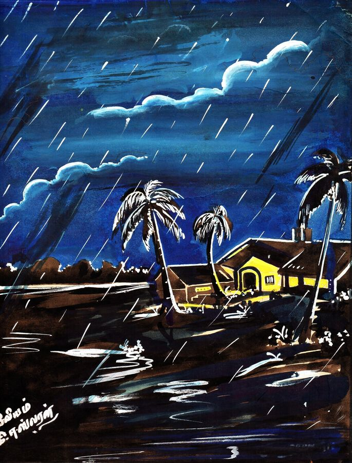 the excellence of rain, 11 x 15 inch, eswaran k,paintings for living room,nature paintings,canvas,pastel color,11x15inch,GAL08122130Nature,environment,Beauty,scenery,greenery