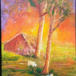 nature- 2, 18 x 24 inch, a.b.  kaser,nature paintings,paintings for living room,canvas,acrylic color,18x24inch,GAL06362131Nature,environment,Beauty,scenery,greenery