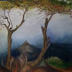 landscape, 12 x 8 inch, bablu pramanik,paintings,landscape paintings,handmade paper,acrylic color,12x8inch,GAL0773821317
