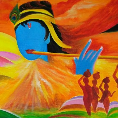 krishna - a big dimension , 38 x 20 inch, a.b.  kaser,paintings for living room,abstract expressionist paintings,radha krishna paintings,canvas,acrylic color,38x20inch,GAL06362132,krishna,love,lord,lordkrishna,flute,muisc
