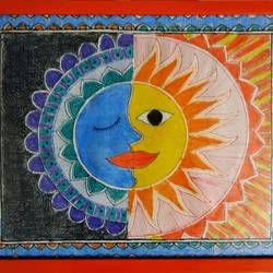 sun & moon embrace, 12 x 8 inch, akanksha sinha,paintings,folk art paintings,nature paintings,madhubani paintings,paintings for living room,paintings for office,paintings for hotel,paintings for living room,paintings for office,paintings for hotel,paper,ink color,pen color,pencil color,12x8inch,GAL01104121327Nature,environment,Beauty,scenery,greenery