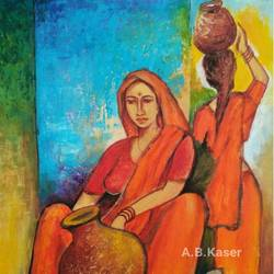 village women, 12 x 14 inch, a.b.  kaser,paintings for living room,figurative paintings,thick paper,acrylic color,12x14inch,GAL06362133