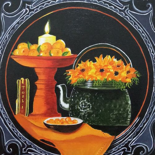 still candlelight and fruits, 12 x 16 inch, sandhya kumari,paintings,flower paintings,still life paintings,paintings for dining room,paintings for living room,paintings for bedroom,paintings for office,paintings for kids room,paintings for hotel,paintings for kitchen,paintings for school,paintings for hospital,canvas board,acrylic color,12x16inch,GAL0365921333